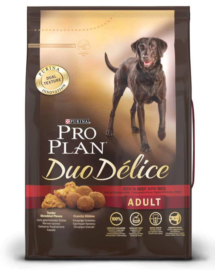 Корм сухой для собак Pro Plan Duo Delice, с говядиной и рисом, 2,5 кг12202612Сухой корм Pro Plan Duo Delice - это полнорационный корм для взрослых собак, с говядиной и рисом. Корм обеспечивает правильный баланс питательных веществ для поддержания здоровья и хорошего самочувствия взрослых собак. Тщательно отобранные ингредиенты и специально разработанный процесс приготовления обеспечивают высокую усвояемость корма, благодаря чему собаки получают необходимые им питательные вещества. Собаки обожают инновационное сочетание хрустящих крокет и мягких кусочков, в которых основным ингредиентом является говядина. Уникальное сочетание хрустящих крокет и мягких кусочков побуждает собаку с удовольствием пережевывать корм. Механическое воздействие хрустящих крокет на зубы вашей собаки, действует как зубная щетка, тем самым способствует уменьшению отложения зубного камня. Содержащаяся в корме клетчатка помогает поддерживать здоровье пищеварительного тракта, помогает улучшить качество стула, а белок из специально выбранных ингредиентов легко...