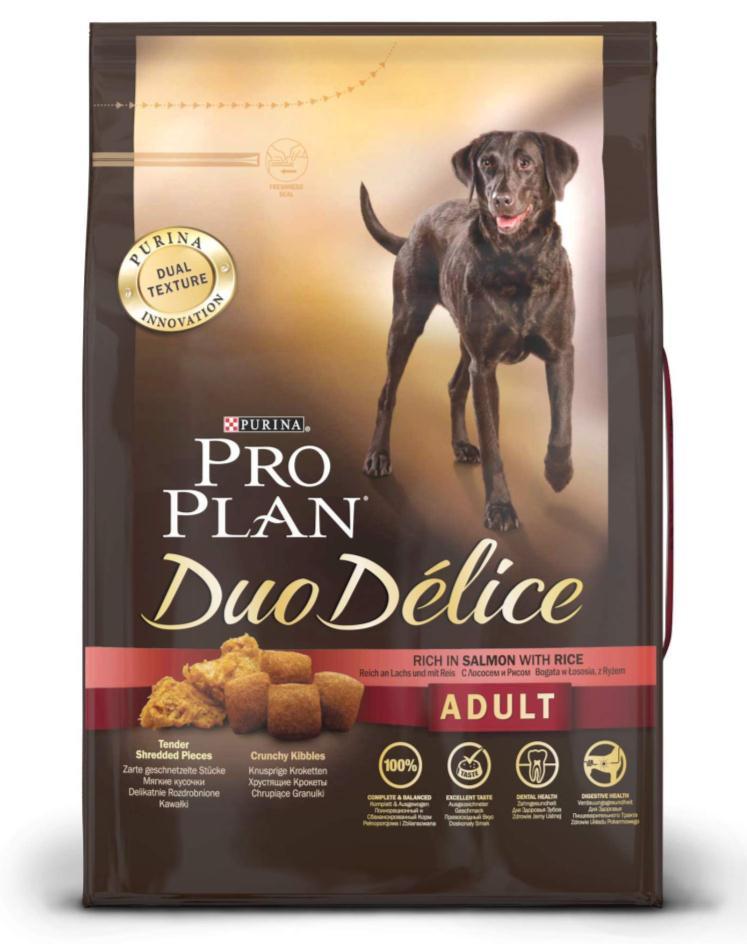 Корм сухой для собак Pro Plan Duo Delice, с лососем и рисом, 2,5 кг12202613Сухой корм Pro Plan Duo Delice - это полнорационный корм для взрослых собак, с лососем и рисом. Корм обеспечивает правильный баланс питательных веществ для поддержания здоровья и хорошего самочувствия взрослых собак. Тщательно отобранные ингредиенты и специально разработанный процесс приготовления обеспечивают высокую усвояемость корма, благодаря чему собаки получают необходимые им питательные вещества. Собаки обожают инновационное сочетание хрустящих крокет и мягких кусочков, в которых основным ингредиентом является лосось. Уникальное сочетание хрустящих крокет и мягких кусочков побуждает собаку с удовольствием пережевывать корм. Механическое воздействие хрустящих крокет на зубы вашей собаки, действует как зубная щетка, тем самым способствует уменьшению отложения зубного камня. Содержащаяся в корме клетчатка помогает поддерживать здоровье пищеварительного тракта, помогает улучшить качество стула, а белок из специально выбранных ингредиентов легко...