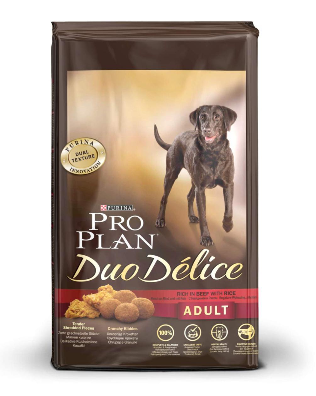 Корм сухой для собак Pro Plan Duo Delice, с говядиной и рисом, 10 кг12202614Сухой корм Pro Plan Duo Delice - это полнорационный корм для взрослых собак, с говядиной и рисом. Корм обеспечивает правильный баланс питательных веществ для поддержания здоровья и хорошего самочувствия взрослых собак. Тщательно отобранные ингредиенты и специально разработанный процесс приготовления обеспечивают высокую усвояемость корма, благодаря чему собаки получают необходимые им питательные вещества. Собаки обожают инновационное сочетание хрустящих крокет и мягких кусочков, в которых основным ингредиентом является говядина. Уникальное сочетание хрустящих крокет и мягких кусочков побуждает собаку с удовольствием пережевывать корм. Механическое воздействие хрустящих крокет на зубы вашей собаки, действует как зубная щетка, тем самым способствует уменьшению отложения зубного камня. Содержащаяся в корме клетчатка помогает поддерживать здоровье пищеварительного тракта, помогает улучшить качество стула, а белок из специально выбранных ингредиентов легко...