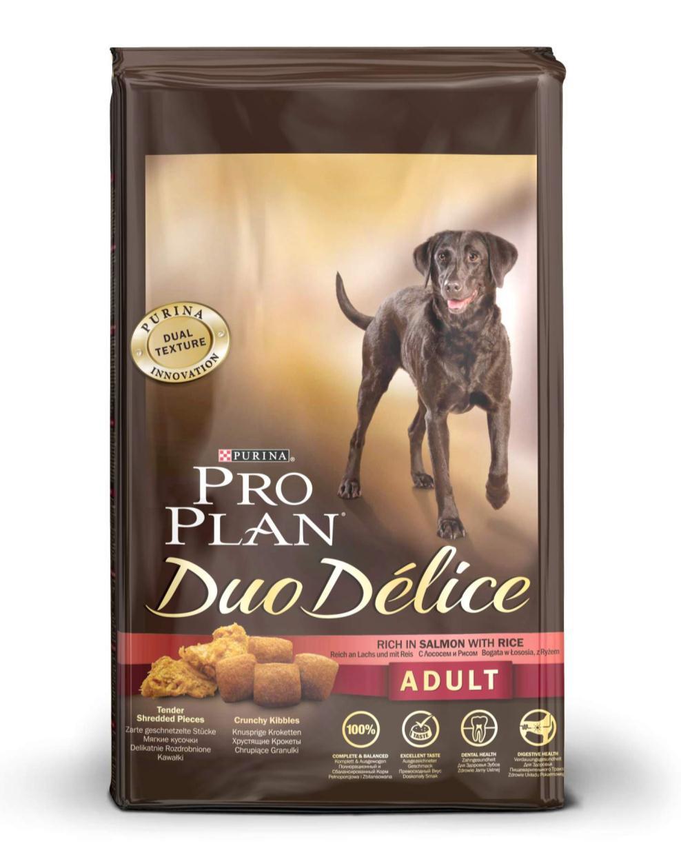 Корм сухой для собак Pro Plan Duo Delice, с лососем и рисом, 10 кг12202615Сухой корм Pro Plan Duo Delice - это полнорационный корм для взрослых собак, с лососем и рисом. Корм обеспечивает правильный баланс питательных веществ для поддержания здоровья и хорошего самочувствия взрослых собак. Тщательно отобранные ингредиенты и специально разработанный процесс приготовления обеспечивают высокую усвояемость корма, благодаря чему собаки получают необходимые им питательные вещества. Собаки обожают инновационное сочетание хрустящих крокет и мягких кусочков, в которых основным ингредиентом является лосось. Уникальное сочетание хрустящих крокет и мягких кусочков побуждает собаку с удовольствием пережевывать корм. Механическое воздействие хрустящих крокет на зубы вашей собаки, действует как зубная щетка, тем самым способствует уменьшению отложения зубного камня. Содержащаяся в корме клетчатка помогает поддерживать здоровье пищеварительного тракта, помогает улучшить качество стула, а белок из специально выбранных ингредиентов легко...