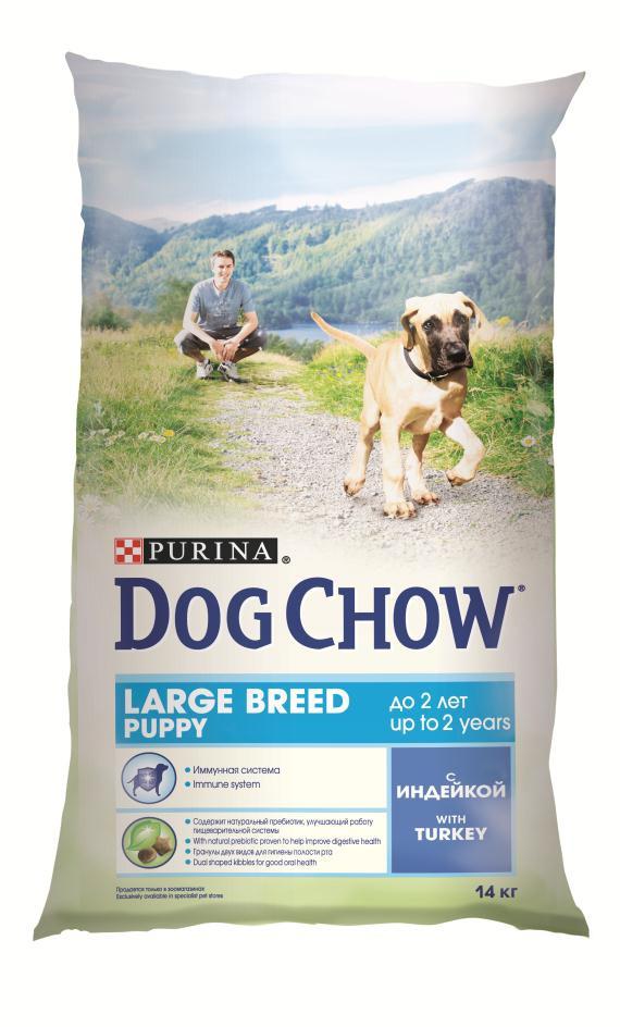 Корм сухой Dog Chow для щенков крупных пород, с индейкой, 14 кг12233250Корм сухой Dog Chow - полнорационный и сбалансированный корм для щенков крупных пород до 2 лет с индейкой. Подходит для кормления беременных и лактирующих собак крупных пород. Высокое содержание мяса. Создан специально для поддержания естественных защитных механизмов и обеспечения правильного роста щенков крупных пород (ожидаемая масса тела взрослой собаки >25 кг). Иммунная система. Корм содержит витамин Е, который в качестве антиоксиданта участвует в борьбе со свободными радикалами и укрепляет естественную защиту организма. Необходимые минеральные элементы и витамины для формирования крепких зубов и костей. Оптимальное соотношение белков и жиров для гармоничного роста вашего щенка крупной породы. Содержит омега-3 жирную кислоту, необходимую для развития головного мозга и зрительного аппарата. Гранулы двух видов помогают щенку научиться пережевывать пищу, что способствует формированию правильного пищевого поведения,...