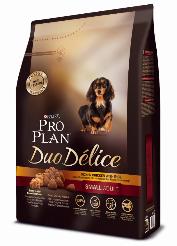 Корм сухой Pro Plan Duo Delice для собак мелких и карликовых пород, с курицей и рисом, 2,5 кг12251941Сухой корм Pro Plan Duo Delice - это полнорационный корм для взрослых собак мелких и карликовых пород. Это первый корм для собак, сочетающий в себе безупречные питательные свойства вместе с исключительным вкусом. Он состоит из уникального комплекса питательных хрустящих гранул и нежных измельченных кусочков мяса, которые собаки просто обожают. Состав: курица (17%), пшеница, кукуруза, сухой белок птицы, животный жир, пшеничный глютен, сухая мякоть свеклы, рис (4%), минеральные вещества, вкусоароматическая кормовая добавка, пропиленгликоль, яичный порошок, рыбий жир, солодовая мука, витамины. Добавленные вещества (на 1 кг): витамин А 28200 МЕ; витамин D3 920 МЕ; витамин Е 550 МЕ; витамин С 140 мг; железо 75 мг; йод 1,9 мг; медь 10 мг; марганец 35 мг; цинк 140 мг; селен 0,12 мг. Технологические добавки: экстракт токоферолов натурального происхождения 50 мг/кг. Гарантируемые показатели: белок 27%, жир 17%, сырая зола 8%, сырая клетчатка 2%. Товар...