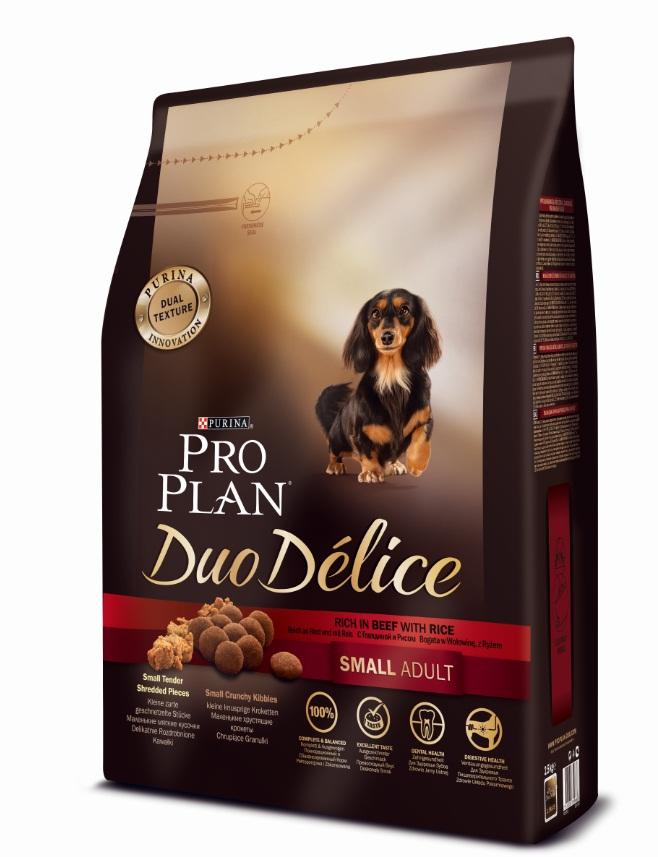 Корм сухой Pro Plan Duo Delice для собак мелких и карликовых пород, с говядиной и рисом, 2,5 кг12251945Сухой корм Pro Plan Duo Delice - это полнорационный корм для взрослых собак мелких и карликовых пород. Это первый корм для собак, сочетающий в себе безупречные питательные свойства вместе с исключительным вкусом. Он состоит из уникального комплекса питательных хрустящих гранул и нежных измельченных кусочков мяса, которые собаки просто обожают. Состав: говядина (17%), пшеница, кукуруза, сухой белок птицы, животный жир, пшеничный глютен, сухая мякоть свеклы, рис (4%), минеральные вещества, вкусоароматическая кормовая добавка, пропиленгликоль, яичный порошок, рыбий жир, солодовая мука, витамины. Добавленные вещества (на 1 кг): витамин А 28200 МЕ; витамин D3 920 МЕ; витамин Е 550 МЕ; витамин С 140 мг; железо 75 мг; йод 1,9 мг; медь 10 мг; марганец 35 мг; цинк 140 мг; селен 0,12 мг. Технологические добавки: экстракт токоферолов натурального происхождения 60 мг/кг. Гарантируемые показатели: белок 27%, жир 17%, сырая зола 8%, сырая клетчатка 2%. Товар...