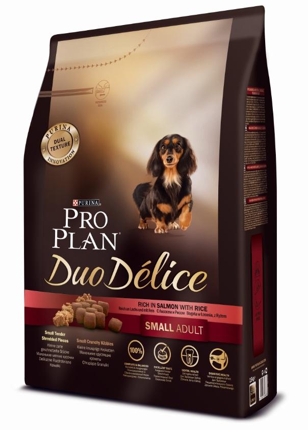 Корм сухой Pro Plan Duo Delice для собак мелких и карликовых пород, с лососем и рисом, 2,5 кг12251961Сухой корм Pro Plan Duo Delice - это полнорационный корм для взрослых собак мелких и карликовых пород. Это первый корм для собак, сочетающий в себе безупречные питательные свойства вместе с исключительным вкусом. Он состоит из уникального комплекса питательных хрустящих гранул и нежных измельченных кусочков мяса, которые собаки просто обожают. Состав: лосось (15%), сухой белок птицы, кукуруза, пшеница, рис (4%), животный жир, пшеничный глютен, сухая мякоть свеклы, минералы, вкусоароматическая кормовая добавка, кукурузный глютен, пропиленгликоль, яичный порошок, солодовая мука, витамины. Добавленные вещества (на 1 кг): витамин А 28200 МЕ; витамин D3 920 МЕ; витамин Е 550 МЕ; витамин С 140 мг; железо 75 мг; йод 1,9 мг; медь 10 мг; марганец 35 мг; цинк 140 мг; селен 0,12 мг. Технологические добавки: экстракт токоферолов натурального происхождения 50 мг/кг. Гарантируемые показатели: белок 27%, жир 17%, сырая зола 8%, сырая клетчатка 2%. Товар...