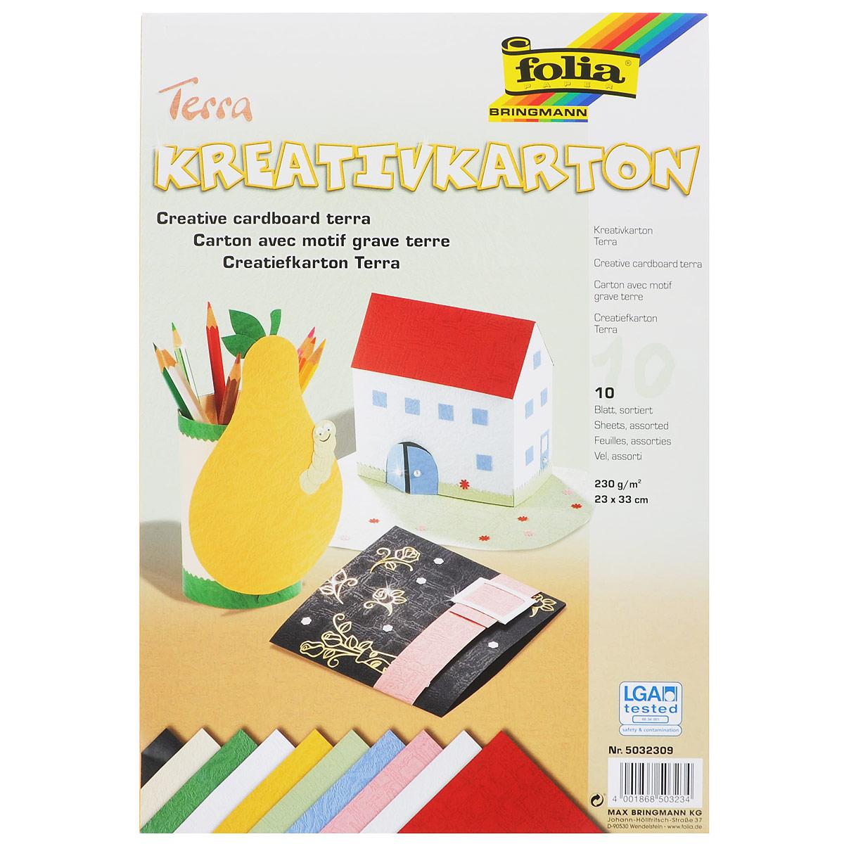 Картон текстурированный Folia Terra, 23 x 33 см, 10 листов7708030Картон Folia Terra с оригинальной текстурой идеально подходит для декора, скрапбукинга, создания поздравительных карточек, украшения интерьера, различных поделок и др. Картон прекрасно держит форму и отлично крепится.