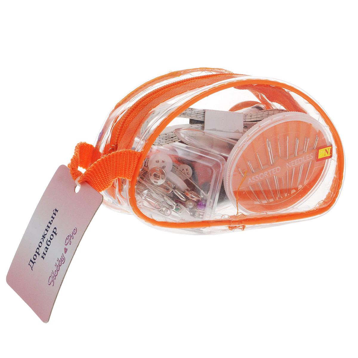 Набор дорожный для шитья Hobby & Pro, цвет: оранжевый. 910120910120Набор дорожный для шитья Hobby & Pro состоит из прозрачной сумочки, выполненной из пластика, внутри которой - компактный набор для шитья. В набор для шитья входит: - сантиметр; - ножницы; - вспарыватель; - наперсток; - нитки (6 цветов); - портновские булавки (17 шт); - безопасные булавки (9 шт); - кнопки (6 комплекта). - крючки и петли (2 комплекта); - пуговицы рубашечные (6 шт); - нитковдеватель; - набор швейных игл. Такой набор отлично подойдет к любой поездке. Размер сумки (ДхШхВ): 11 см х 5 см х 6,5 см. Длина ножниц: 9 см. Длина портновских булавок: 3,5 см. Длина безопасных булавок: 3 см. Диаметр пуговиц: 1,1 см. Диаметр кнопок: 0,8 см. Средняя длина иголок: 3,3 см. Длина вспарывателя: 9 см. Размер нитковдевателя (ДхШхВ): 4,2 см х 0,1 см х 1,2 см. Размер наперстка (ДхШхВ): 1,7 см х 1,7 см х 1,8 см. Длина ленты: 150 см.