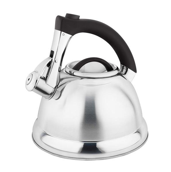 Чайник Laracook, со свистком, цвет: черный, 3 л. LC-0634LC-0634Чайник Laracook выполнен из нержавеющей стали высокой прочности с матовой полировкой. Чайник оснащен откидным свистком, который громко оповестит о закипании воды. Удобная эргономичная ручка выполнена из бакелита. Такой чайник идеально впишется в интерьер любой кухни и станет замечательным подарком к любому случаю. Подходит для всех типов плит, включая индукционные. Можно мыть в посудомоечной машине. Диаметр чайника по верхнему краю: 9,5 см. Диаметр индукционного диска: 22 см. Высота чайника (с учетом ручки): 23 см.