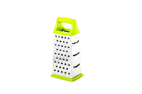 Терка нерж. четырехгранная, 23 см, зеленая, LARACOOK (48)LC-0413Высококачественная сталь 18/10, Эргономичный дизайн ручек soft-touch,Устойчивое силиконовое основание, 4 вида лезвия