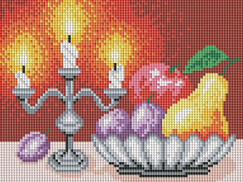 Набор для творчества Мозаика. Натюрморт со свечами, 24 см х 18 см195-STНабор для творчества Мозаика. Натюрморт со свечами поможет вам создать свой личный шедевр - красивую картину, выполненную в мозаичной технике. Мозаичные картины - это новый вид творчества, который поможет создать прекрасное украшение для вашего дома. В наборе имеется канва с нанесенной схемой, покрытая клеевым слоем. С помощью пинцета камушки размещаются на канву. В результате проявляется рисунок. Для создания картины нужно лишь выложить мозаику по схеме на клеевую основу. Вы получите огромное наслаждение от творчества. В набор входит: - основа картины со схемой, - комплект мозаики, - пинцет, - контейнер для мозаики.