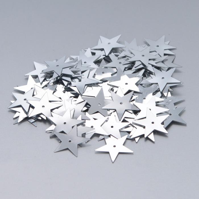 Пайетки Астра Звездочки, цвет: серебристый (1), 20 мм, 10 г. 7700477_17700477_1Пайетки Астра Звездочки представляют собой блёстки, плоские чешуйки в форме пятиконечной звезды, изготовленные из пластика с отверстием для продевания нитки. Они позволят изыскано украсить любую вещь, идеальны для декора сценических костюмов, создания стилизованной одежды.