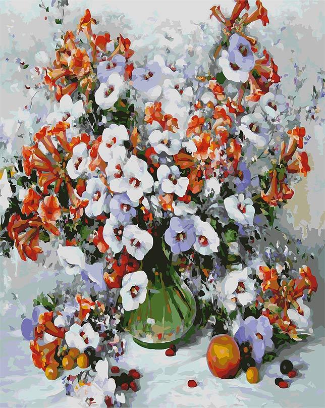 Живопись на цветном холсте Городские цветы, 40 х 50 см 018-AB-C018-AB-C Городские цветыЖивопись на холсте Городские цветы - это набор для раскрашивания по номерам красками на холсте. Каждая краска имеет свой номер, соответствующий номеру на картинке. Нужно только аккуратно нанести необходимую краску на отмеченный для нее участок. Таким образом, шаг за шагом у вас получится великолепная картина. С помощью такого набора вы можете стать настоящим художником и создателем прекрасных картин. Вы получите истинное удовольствие от погружения в процесс творчества, и созданные своими руками картины украсят интерьер вашего дома или станут прекрасным подарком. Техника раскрашивания на холсте по номерам дает возможность легко рисовать даже сложные сюжеты. Прекрасно развивает художественный вкус, аккуратность и внимание. В набор входят: - профессиональный прогрунтованный холст из 100% хлопка с нанесенным цветным рисунком, натянутый на деревянный подрамник, - специально разработанные нетоксичные, экологичные, безопасные, устойчивые к выцветанию...