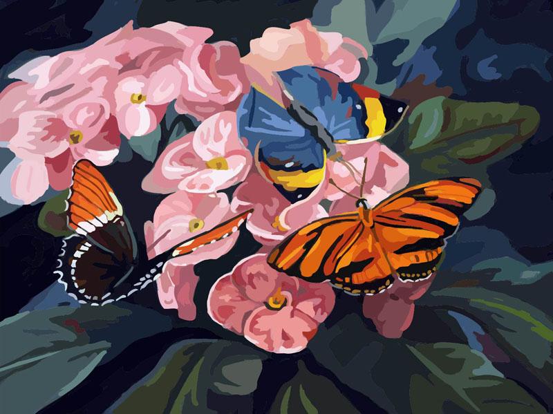 Живопись на цветном холсте Бабочки на цветах, 40 х 50 см 806-AB-C806-AB-CЖивопись на холсте Бабочки на цветах - это набор для раскрашивания по номерам красками на холсте. Каждая краска имеет свой номер, соответствующий номеру на картинке. Нужно только аккуратно нанести необходимую краску на отмеченный для нее участок. Таким образом, шаг за шагом у вас получится великолепная картина. С помощью такого набора вы можете стать настоящим художником и создателем прекрасных картин. Вы получите истинное удовольствие от погружения в процесс творчества, и созданные своими руками картины украсят интерьер вашего дома или станут прекрасным подарком. Техника раскрашивания на холсте по номерам дает возможность легко рисовать даже сложные сюжеты. Прекрасно развивает художественный вкус, аккуратность и внимание. В набор входят: - профессиональный прогрунтованный холст из 100% хлопка с нанесенным цветным рисунком, натянутый на деревянный подрамник, - специально разработанные нетоксичные, экологичные, безопасные, ...