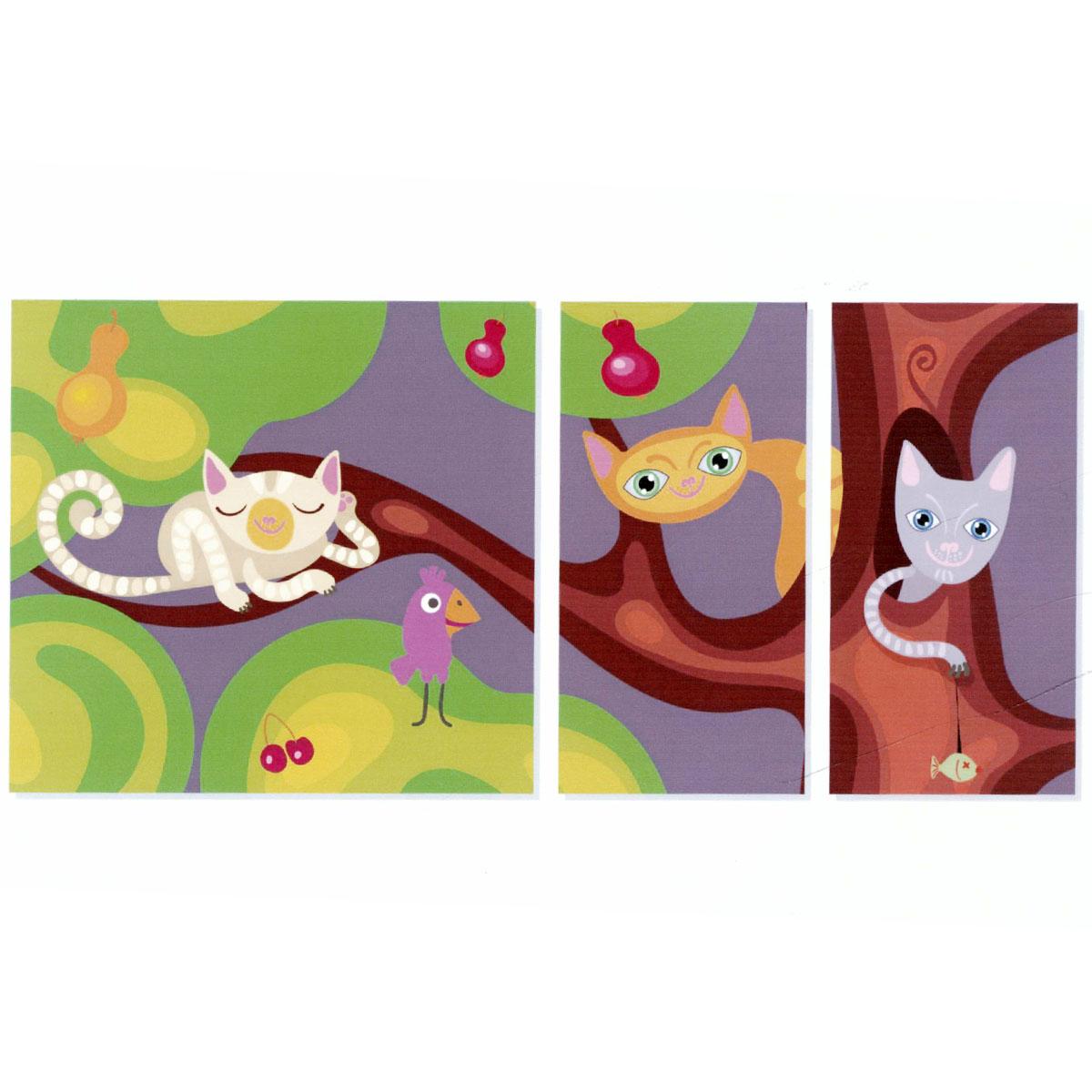 Модульная картина на холсте КвикДекор Цветные кошки, 171 см х 80 смPSM-14-0395-1Модульная картина на холсте КвикДекор Цветные кошки - это прекрасное решение для декора помещения. Картина состоит из трех частей (модулей) разного размера, объединенных общей тематикой. Изображение переходит из одного модуля в другой. Модули размещаются на расстоянии 2-3 см друг от друга. Латексная печать (без запаха) на натуральном х/б холсте, галерейная натяжка на деревянные подрамники из высококачественной сосны. Такая картина будет потрясающе смотреться в детской комнате. Она сделает обстановку комфортной и уютной, а яркие краски и интересное оформление обязательно понравятся вашему малышу. Картина в стрейч-пленке с защитными картонными уголками упакована в гофрокоробку с термоусадкой. Размер модулей: 85 см х 80 см (1 шт); 40 см х 80 см (2 шт). Количество модулей: 3 шт. Общий размер картины: 171 см х 80 см. Художник: Анна Морозова.
