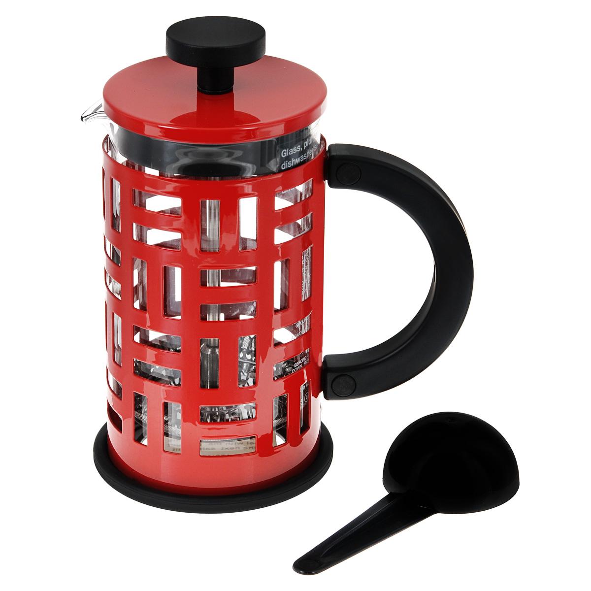 Кофейник Bodum Eileen с прессом, цвет: красный, 350 мл11198-294Кофейник Bodum Eileen имеет жаропрочный, теплосберегающий узкий стеклянный цилиндр и поршень, нижняя часть которого соединена с сетчатым металлическим фильтром. Кофейник изготовлен на основе технологии «френч-пресс». Кофейник Bodum Eileen имеет удобную ручку, изготовленную из пластика. Коспус кофейника, изготовлен из нержавеющей стали, в оригинальном стиле. Свое название кофейник приобрел, благодаря гениальному дизайнеру Эйлин Грей (Eileen Gray) .Стиль Эйлин, схож со стилем Bodum. Она работала с металлом и создавала простые и лаконичные формы. Кофейник можно наблюдать во многих кафе Парижа. Кофейник с прессом Bodum Eileen добавит вашему домашнему интерьеру французского шарма. Не применять на плите. Мешать кофе пластмассовой ложкой (входит в комплект). Сильно не давить на пресс. Все детали пригодны для мытья в посудомоечной машине.