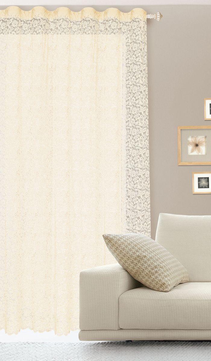 Штора готовая для гостиной Garden, на ленте, цвет: бежевый, размер 300*260 см. С536070V1С536070V1Гипюровая кружевная штора для гостиной Garden выполнена из сетчатой ткани (100% полиэстера) с изящным цветочным принтом. Необычный дизайн, тонкое плетение кружева и нежная цветовая гамма привлекут к себе внимание и органично впишутся в интерьер комнаты. Штора крепится на карниз при помощи ленты, которая поможет красиво и равномерно задрапировать верх. Штора Garden великолепно украсит любое окно. Стирка при температуре 30°С.