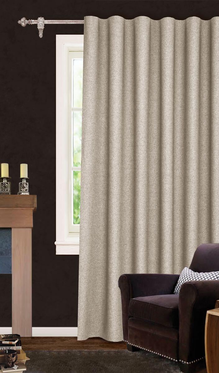 Штора готовая для гостиной Garden, на ленте, цвет: бежевый, размер 200*260 см. С537067V1С537067V1Роскошная светонепроницаемая портьерная штора Garden выполнена из ткани рогожка (100% полиэстера). Материал плотный и мягкий на ощупь. Оригинальная текстура ткани и спокойная цветовая гамма привлекут к себе внимание и органично впишутся в интерьер помещения. Эта штора будет долгое время радовать вас и вашу семью! Штора крепится на карниз при помощи ленты, которая поможет красиво и равномерно задрапировать верх. Стирка при температуре 30°С.