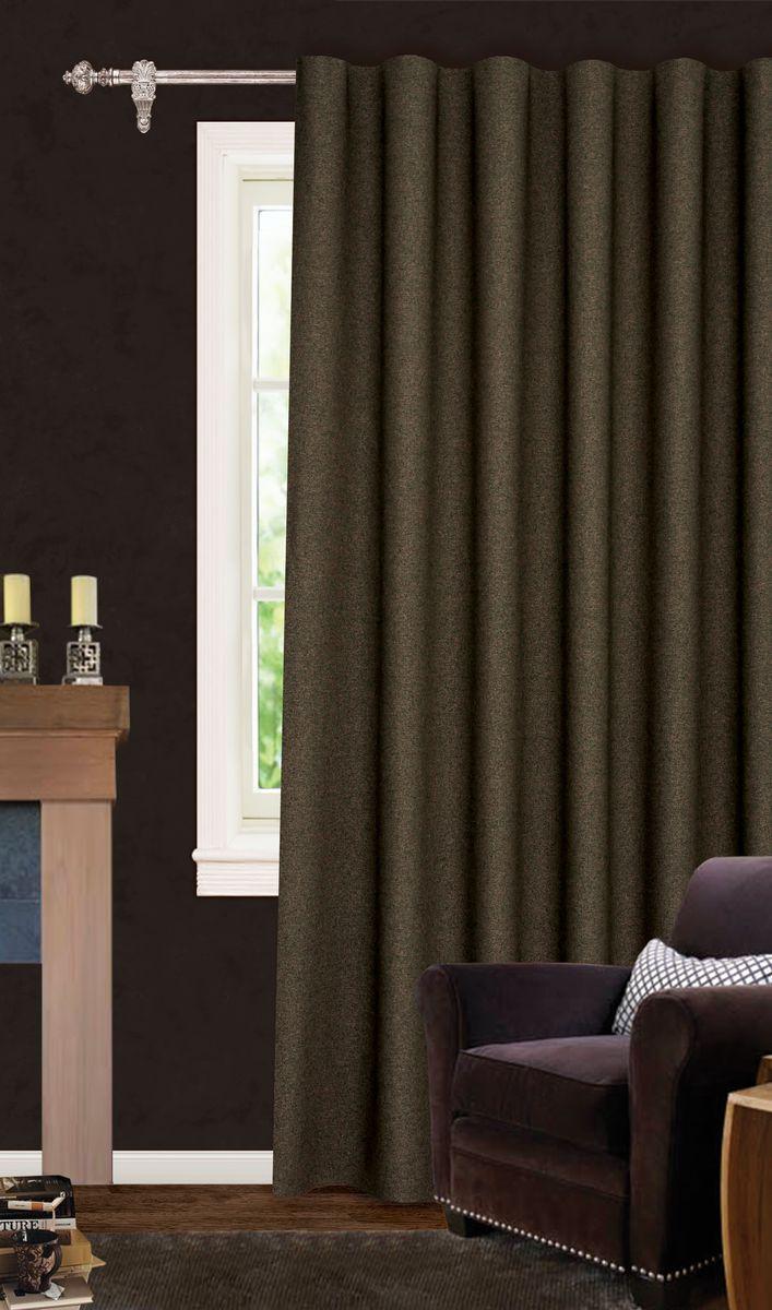 Штора готовая для гостиной Garden, на ленте, цвет: коричневый, размер 200*260 см. С537067V11С537067V11Роскошная светонепроницаемая портьерная штора Garden выполнена из ткани рогожка (100% полиэстера). Материал плотный и мягкий на ощупь. Оригинальная текстура ткани и спокойная цветовая гамма привлекут к себе внимание и органично впишутся в интерьер помещения. Эта штора будет долгое время радовать вас и вашу семью! Штора крепится на карниз при помощи ленты, которая поможет красиво и равномерно задрапировать верх. Стирка при температуре 30°С.
