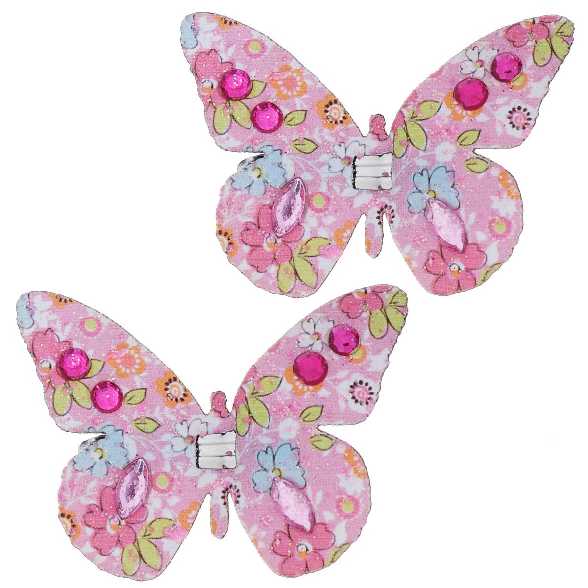 Набор декоративных элементов Hobby Time Бабочки, цвет: розовый, 5 х 4 см, 2 шт. 77054927705492Набор декоративных элементов Hobby Time Бабочки, изготовленный из текстиля, предназначен для декорирования. Он может пригодиться в оформлении одежды, предметов интерьера, подарков, цветочных букетов, а также в скрапбукинге. В наборе - 2 элемента. Изделия выполнены в виде бабочек, декорированных цветочным принтом и стразами. С оборотной стороны бабочки оснащены металлическими клипсами.