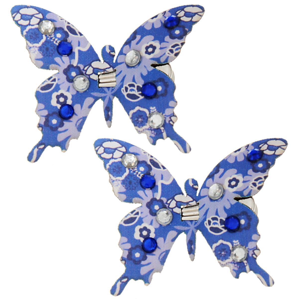 Набор декоративных элементов Hobby Time Бабочки, цвет: синий, 5 см х 4,5 см, 2 шт. 77054937705493Набор декоративных элементов Hobby Time Бабочки, изготовленный из текстиля, предназначен для декорирования. Он может пригодиться в оформлении одежды, предметов интерьера, подарков, цветочных букетов, а также в скрапбукинге. В наборе - 2 элемента. Изделия выполнены в виде бабочек, декорированных цветочным принтом и стразами. С оборотной стороны бабочки оснащены металлическими клипсами.