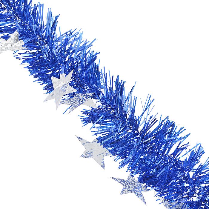 Мишура новогодняя Sima-land, цвет: синий, серебристый, диаметр 9 см, длина 2 м. 825983825983Новогодняя мишура Sima-land, выполненная из ПЭТ (полиэтилентерефталат), поможет вам украсить свой дом к предстоящим праздникам. Изделие декорировано звездами. Новогодняя елка с таким украшением станет еще наряднее. Мишура армирована, то есть имеет проволоку внутри и способна сохранять форму. Новогодней мишурой можно украсить все, что угодно - елку, квартиру, дачу, офис - как внутри, так и снаружи. Можно сложить новогодние поздравления, буквы и цифры, мишурой можно украсить и дополнить гирлянды, можно выделить дверные колонны, оплести дверные проемы. Коллекция декоративных украшений из серии Magic Time принесет в ваш дом ни с чем не сравнимое ощущение волшебства! Создайте в своем доме атмосферу тепла, веселья и радости, украшая его всей семьей.