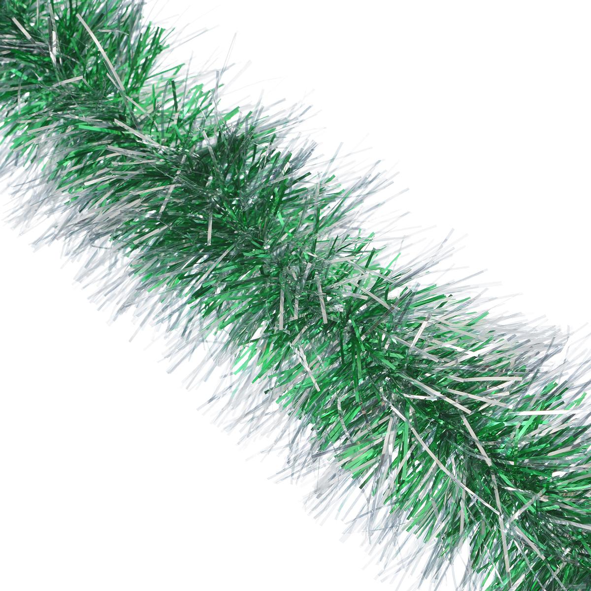 Мишура новогодняя Sima-land, цвет: зеленый, серебристый, диаметр 9 см, длина 165 см. 623233623233Мишура новогодняя Sima-land, выполненная из фольги, поможет вам украсить свой дом к предстоящим праздникам. Мишура армирована, то есть имеет проволоку внутри и способна сохранять приданную ей форму. Новогодняя елка с таким украшением станет еще наряднее. Новогодней мишурой можно украсить все, что угодно - елку, квартиру, дачу, офис - как внутри, так и снаружи. Можно сложить новогодние поздравления, буквы и цифры, мишурой можно украсить и дополнить гирлянды, можно выделить дверные колонны, оплести дверные проемы.
