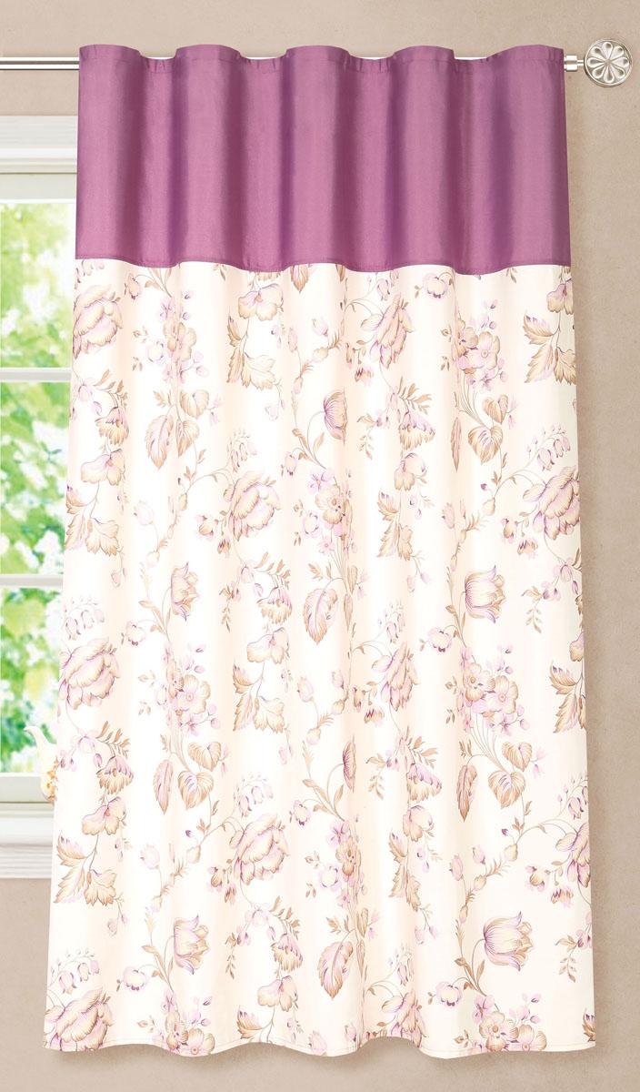 Штора готовая для кухни Garden, на ленте, цвет: фиолетовый, размер 180 см. С8172-W1687-W1687V4С8172-W1687-W1687V4Элегантная портьерная штора Garden выполнена из ткани репс (полиэстер). Плотная ткань, приятная цветовая гамма, цветочный принт привлекут к себе внимание и органично впишутся в интерьер помещения. Эта штора будет долгое время радовать вас и вашу семью! Штора крепится на карниз при помощи ленты, которая поможет красиво и равномерно задрапировать верх.