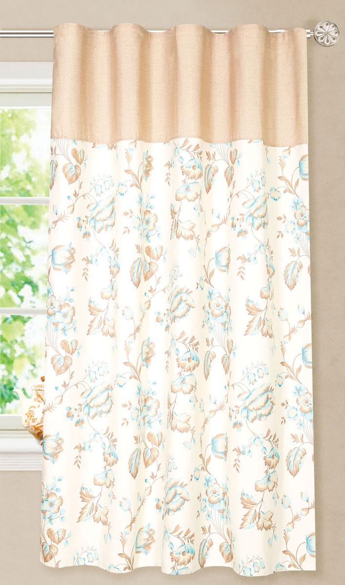 Штора готовая для кухни Garden, на ленте, цвет: бежевый, голубой, размер 180 см. С8172-W1687-W1687V5С8172-W1687-W1687V5Элегантная портьерная штора Garden выполнена из ткани репс (полиэстер). Плотная ткань, приятная цветовая гамма, цветочный принт привлекут к себе внимание и органично впишутся в интерьер помещения. Эта штора будет долгое время радовать вас и вашу семью! Штора крепится на карниз при помощи ленты, которая поможет красиво и равномерно задрапировать верх.