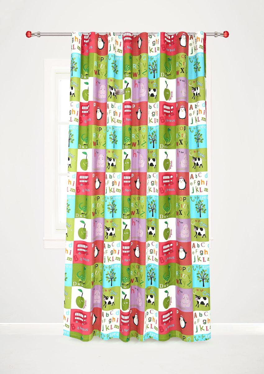 Штора готовая для гостиной Garden, на ленте, цвет: красный, зеленый, размер 200* 260 см. С10238-W1935V7С10238-W1935V7Роскошная портьерная штора Garden выполнена из сатина (100% полиэстера). Материал плотный и мягкий на ощупь. Оригинальная текстура ткани и яркие изображения животных, букв алфавита, фруктов привлекут к себе внимание и органично впишутся в интерьер помещения. Эта штора будет долгое время радовать вас и вашу семью! Штора крепится на карниз при помощи ленты, которая поможет красиво и равномерно задрапировать верх. Стирка при температуре 30°С.