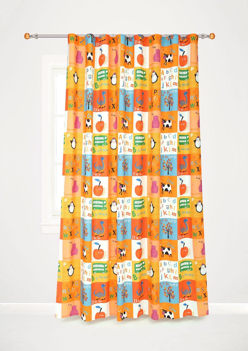 Штора готовая для гостиной Garden, на ленте, цвет: оранжевый, размер 200*260 см. С10238-W1935V8С10238-W1935V8Роскошная портьерная штора Garden выполнена из сатина (100% полиэстера). Материал плотный и мягкий на ощупь. Оригинальная текстура ткани и яркие изображения животных, букв алфавита, фруктов привлекут к себе внимание и органично впишутся в интерьер помещения. Эта штора будет долгое время радовать вас и вашу семью! Штора крепится на карниз при помощи ленты, которая поможет красиво и равномерно задрапировать верх. Стирка при температуре 30°С.