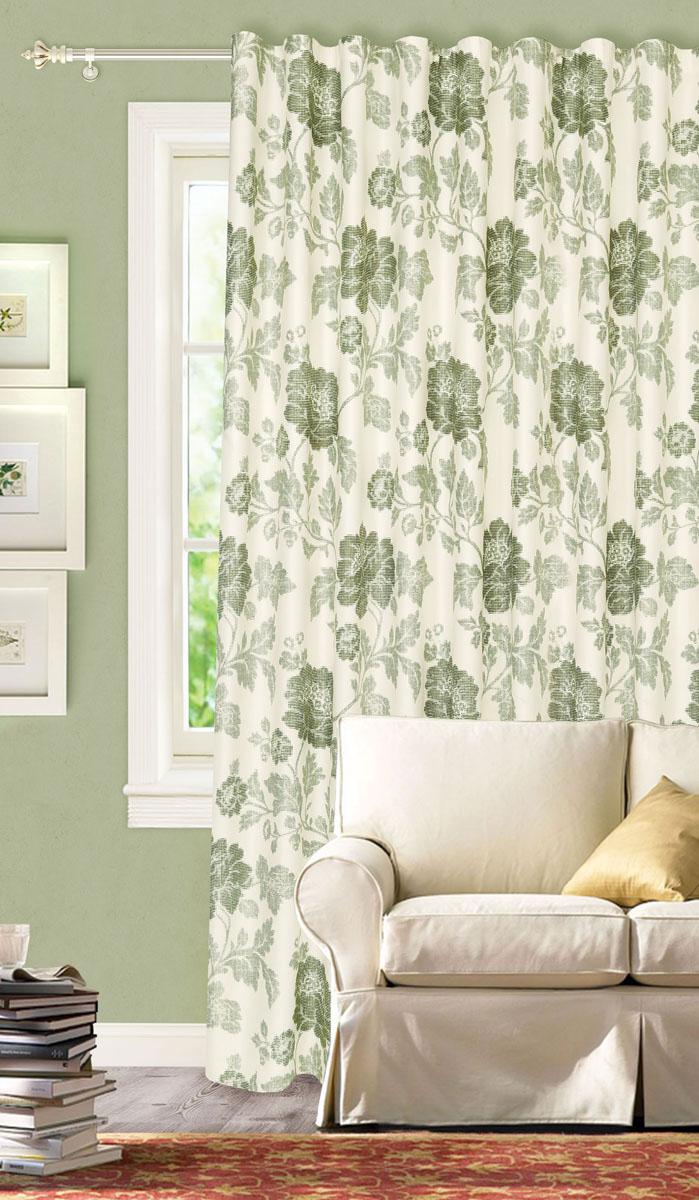 Штора готовая для гостиной Garden, на ленте, цвет: зеленый, размер 200*280 см. С2166-W1223V4С2166-W1223V4Роскошная портьерная штора Garden выполнена из сатина (93% полиэстера и 7% льна). Материал плотный и мягкий на ощупь. Оригинальная текстура ткани и цветочный принт привлекут к себе внимание и органично впишутся в интерьер помещения. Эта штора будет долгое время радовать вас и вашу семью! Штора крепится на карниз при помощи ленты, которая поможет красиво и равномерно задрапировать верх. Стирка при температуре 30°С.