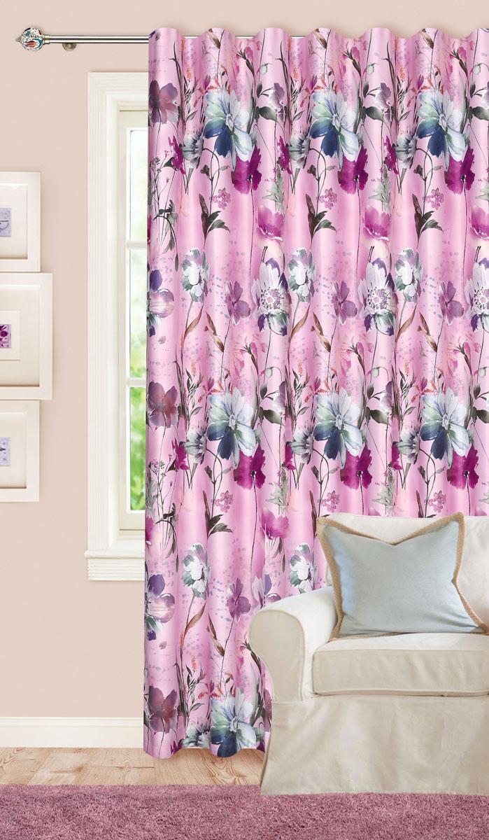 Штора для гостиной Garden, на ленте, цвет: лаванда, размер 200*260 см. СМ0018-W535123V4СМ0018-W535123V4Роскошная штора-портьера Garden выполнена из сатина (100% полиэстера). Материал плотный и мягкий на ощупь. Оригинальная текстура ткани и яркие изображения цветов привлекут к себе внимание и органично впишутся в интерьер помещения. Эта штора будет долгое время радовать вас и вашу семью! Штора крепится на карниз при помощи ленты, которая поможет красиво и равномерно задрапировать верх. Стирка при температуре 30°С.