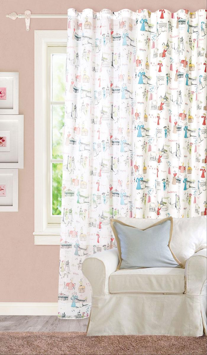 Штора готовая для гостиной Garden, на ленте, цвет: голубой, красный, размер 200*260 см. С 8189 - W1687 V12С 8189 - W1687 V12Роскошная штора-портьера Garden выполнена из плотного репса (100% полиэстера). Материал плотный и мягкий на ощупь. Оригинальная текстура ткани и изображения элегантных дам привлекут к себе внимание и органично впишутся в интерьер помещения. Эта штора будет долгое время радовать вас и вашу семью! Штора крепится на карниз при помощи ленты, которая поможет красиво и равномерно задрапировать верх. Стирка при температуре 30°С.