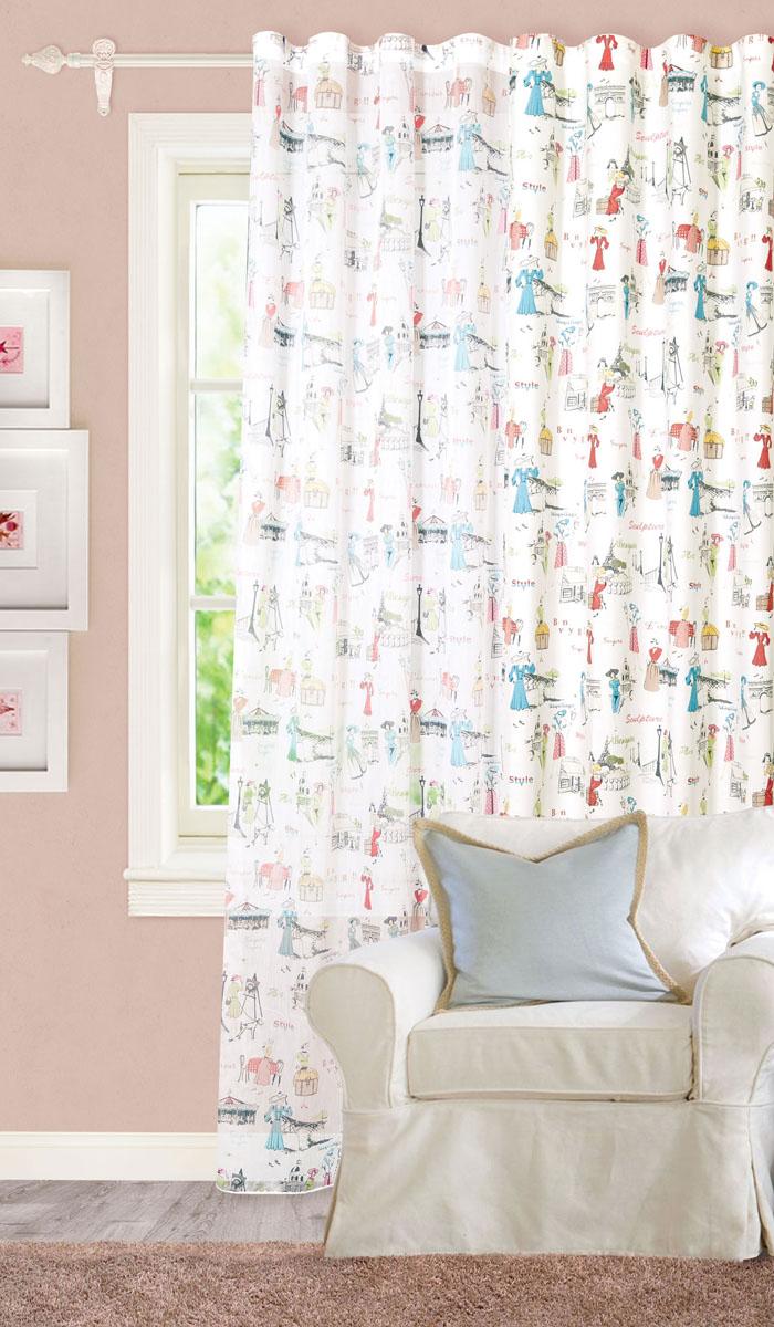 Штора готовая для гостиной Garden, на ленте, цвет: голубой, белый, красный, размер 300*260 см. С 8189 - W356 V1С 8189 - W356 V1Роскошная тюлевая штора Garden выполнена из микро батиста (100% полиэстера). Оригинальная текстура ткани и изображения элегантных дам привлекут к себе внимание и органично впишутся в интерьер помещения. Эта штора будет долгое время радовать вас и вашу семью! Штора крепится на карниз при помощи ленты, которая поможет красиво и равномерно задрапировать верх. Стирка при температуре 30°С.