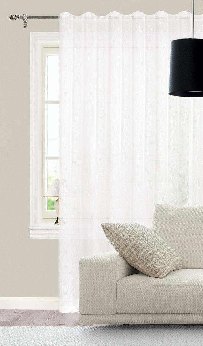 Штора готовая для гостиной Garden, на ленте, цвет: белый, размер 300*260 см. С W356 V70000С W356 V70000Роскошная тюлевая штора Garden выполнена из микро батиста (100% полиэстера). Материал плотный и мягкий на ощупь. Оригинальная текстура ткани и нежная цветовая гамма привлекут к себе внимание и органично впишутся в интерьер помещения. Эта штора будет долгое время радовать вас и вашу семью! Штора крепится на карниз при помощи ленты, которая поможет красиво и равномерно задрапировать верх. Стирка при температуре 30°С.