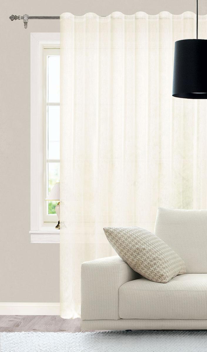Штора готовая для гостиной Garden, на ленте, цвет: светло-бежевый, размер 300*260 см. С W356 V71002С W356 V71002Роскошная тюлевая штора Garden выполнена из микро батиста (100% полиэстера). Материал плотный и мягкий на ощупь. Оригинальная текстура ткани и нежная цветовая гамма привлекут к себе внимание и органично впишутся в интерьер помещения. Эта штора будет долгое время радовать вас и вашу семью! Штора крепится на карниз при помощи ленты, которая поможет красиво и равномерно задрапировать верх. Стирка при температуре 30°С.