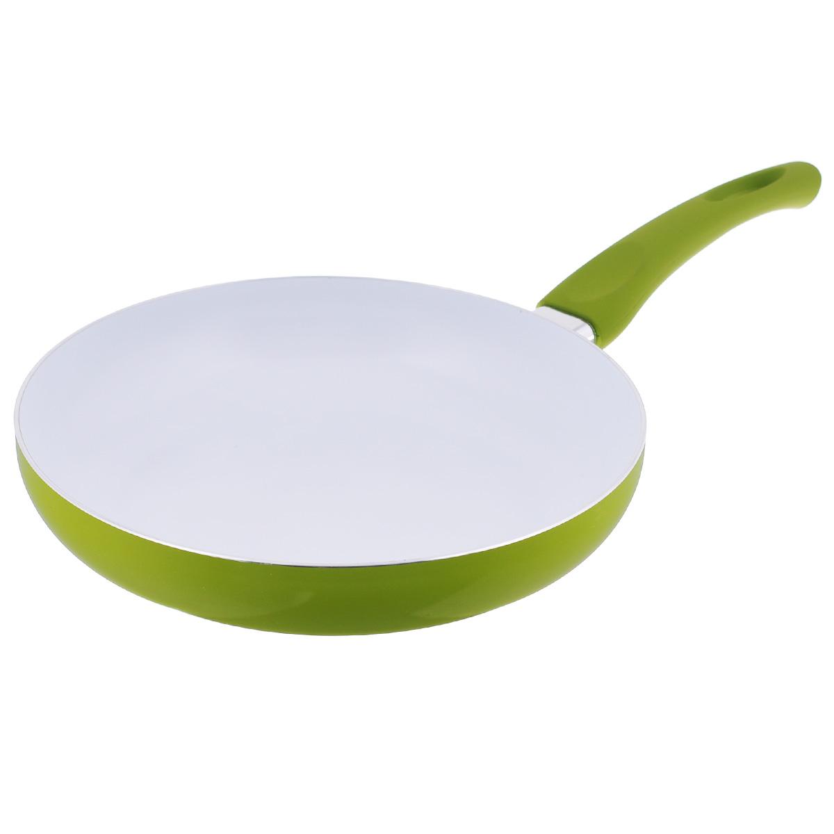 Сковорода Mayer & Boch, с керамическим покрытием, цвет: салатовый. Диаметр 26 см. 2076520765Сковорода Mayer & Boch изготовлена из литого алюминия с керамическим покрытием. Сковорода предназначена для здорового и экологичного приготовления пищи. Пища не пригорает и не прилипает к стенкам. Абсолютно гладкая поверхность легко моется. Посуда экологически чистая, не содержит примеси ПФОК. Рукоятка специального дизайна, выполненная из пластика с силиконовым покрытием, удобна и комфортна в эксплуатации. Внешнее цветное покрытие устойчиво к воздействию высоких температур. Можно использовать на газовых, галогенных, электрических плитах. Не подходит для индукционных плит. Можно мыть в посудомоечной машине. Высота стенки: 5,2 см. Толщина стенки: 2,5 мм. Толщина дна: 3,5 мм. Длина ручки: 19 см.