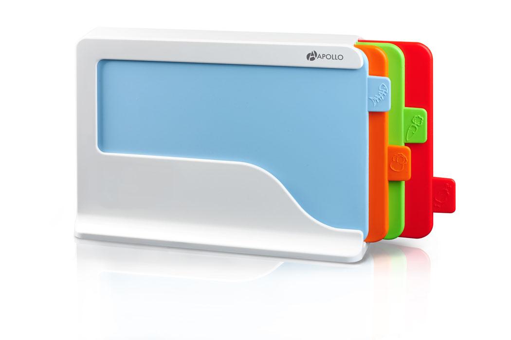Набор разделочных досок Apollo Bereau, с подставкой, 5 предметовBRU-04Набор Apollo Bereau состоит из четырех прямоугольных разделочных досок. Изделия компактно размещаются в специальной подставке, выполненной из пластика. Это делает набор не только многофункциональным, но и очень удобным для хранения на кухне. Доски выполнены из пищевого пластика. Также доски снабжены ярлычком с изображением продуктов, для которых они предназначены. Качественное антибактериальное покрытие досок препятствует размножению вредных микробов. Легко моются. Набор Apollo Bereau станет незаменимым и полезным аксессуаром на вашей кухне.