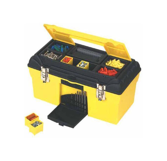 Ящик для инструментов Stanley Condor, 47,9 x 26,4 x 24,4 см1-92-055Ящик для инструмента пластмассовый с органайзерами Stanley Condor оснащен отделениями для хранения сверл, металлическими замками. Секции для хранения аксессуаров со съемными отделениями в крышке. Возможность запирания ящика с помощью навесного замка (замок в комплект поставки не входит). Металлические замки. Имеет съемный лоток для аксессуаров, ручку из двух материалов.