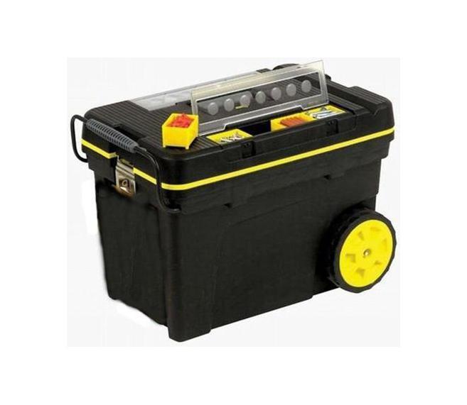 Ящик для инструментов Stanley Pro Mobile Tool, 62 х 38 х 44 см1-92-904Профессиональный большой ящик для инструментов на колесах Stanley 1-92-083. Оборудован тремя органайзерами, два из которых (по четыре съемных ячейки в каждом) предназначены для компактного хранения мелких деталей и креплений, а один - для оперативного хранения губцевого и измерительного инструмента, молотка и пр. Ящик оборудован большой удобной стальной ручкой, выдвигаемой из корпуса ящика, и колесами диаметром 178 см.