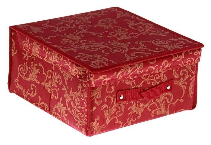 контейнер для хранения(жёсткий)29*28*15см,бордовый 838838Декоративный контейнер - отличный способ для хранение вещей! Благодаря универсальности изделия, в контейнере можно хранить самые разнообразные вещи: бижутерию, лекарства, швейные принадлежности.Такой контейнер поможет держать вещи в порядке. Декоративный контейнер даст Вам возможность сохранить все в одном месте, а также защитить вещи от пыли, грязи и влаги. Материал: флизелин,картон