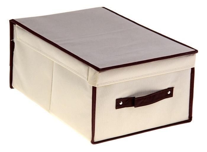 контейнер для хранения(жёсткий)45*30*20см,бежевый 839839Декоративный контейнер - отличный способ для хранение вещей! Благодаря универсальности изделия, в контейнере можно хранить самые разнообразные вещи: бижутерию, лекарства, швейные принадлежности.Такой контейнер поможет держать вещи в порядке. Декоративный контейнер даст Вам возможность сохранить все в одном месте, а также защитить вещи от пыли, грязи и влаги. Материал: флизелин,картон