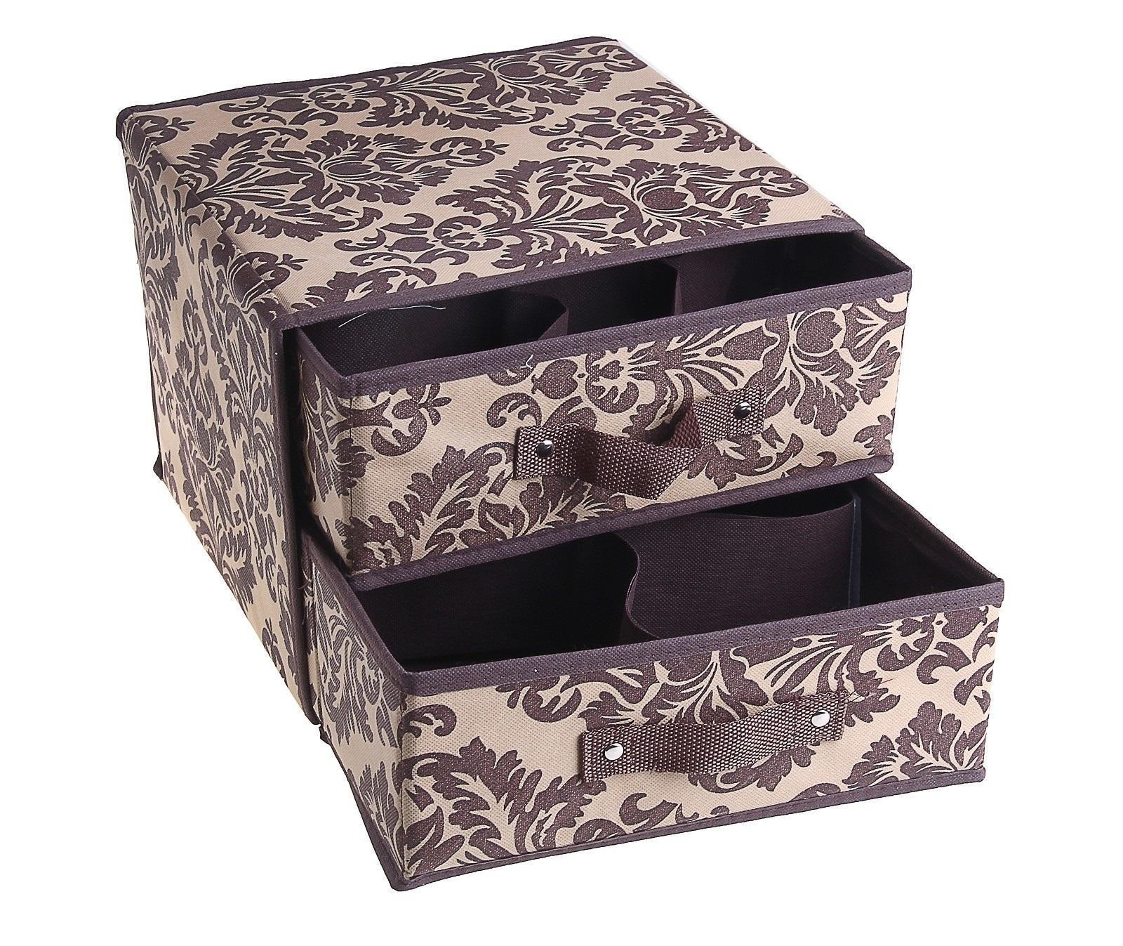 контейнер для хранения(жёсткий)30*30*23см, с 2 выдвижными ящичками коричневый 844844Декоративный контейнер - отличный способ для хранение вещей! Благодаря универсальности изделия, в контейнере можно хранить самые разнообразные вещи: бижутерию, лекарства, швейные принадлежности.Такой контейнер поможет держать вещи в порядке. Декоративный контейнер даст Вам возможность сохранить все в одном месте, а также защитить вещи от пыли, грязи и влаги.