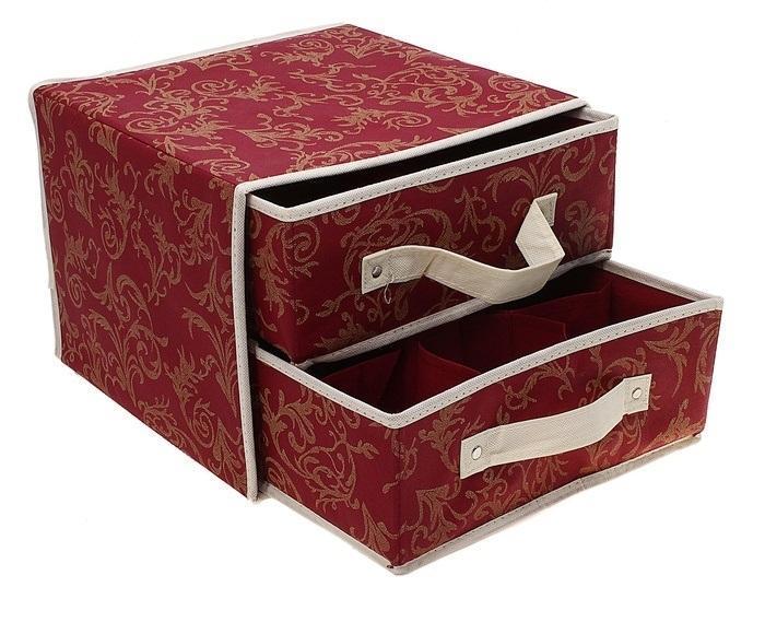 контейнер для хранения(жёсткий)30*30*23см,с 2 выдвижными ящичками бордовый 845845Декоративный контейнер - отличный способ для хранение вещей! Благодаря универсальности изделия, в контейнере можно хранить самые разнообразные вещи: бижутерию, лекарства, швейные принадлежности.Такой контейнер поможет держать вещи в порядке. Декоративный контейнер даст Вам возможность сохранить все в одном месте, а также защитить вещи от пыли, грязи и влаги. Материал: Текстиль,картон