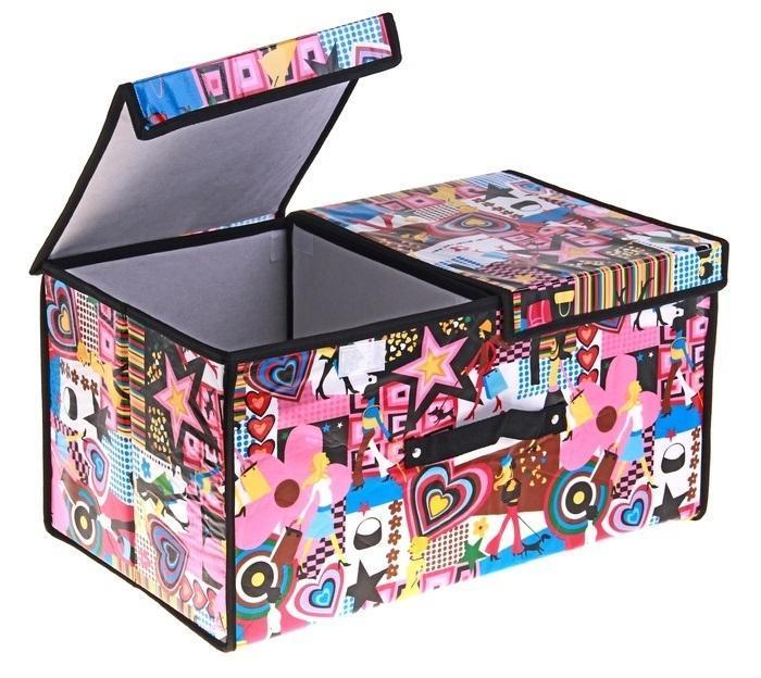 контейнер для хранения (жесткий) Модница 50*30*25см,2 отделения с 2 крышками 709731709731Декоративный контейнер - отличный способ для хранение вещей! Благодаря универсальности изделия, в контейнере можно хранить самые разнообразные вещи: бижутерию, лекарства, швейные принадлежности.Такой контейнер поможет держать вещи в порядке. Декоративный контейнер даст Вам возможность сохранить все в одном месте, а также защитить вещи от пыли, грязи и влаги. Материал: Клеёнка на флизелине,картон