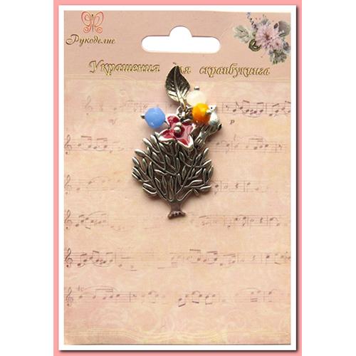 Украшение для скрапбукинга Дерево и цветок, 4 х 2 х 1 см485475Украшение Дерево и цветок изготовлено из металла. Оно используется в скрапбукинге для украшения альбома, фоторамки, открытки и др. Изделие выполнено в виде дерева с цветком. Скрапбукинг - это хобби, которое способно приносить массу приятных эмоций не только человеку, который этим занимается, но и его близким, друзьям, родным. Это невероятно увлекательное занятие, которое поможет вам сохранить наиболее памятные и яркие моменты вашей жизни, а также интересно оформить интерьер дома.