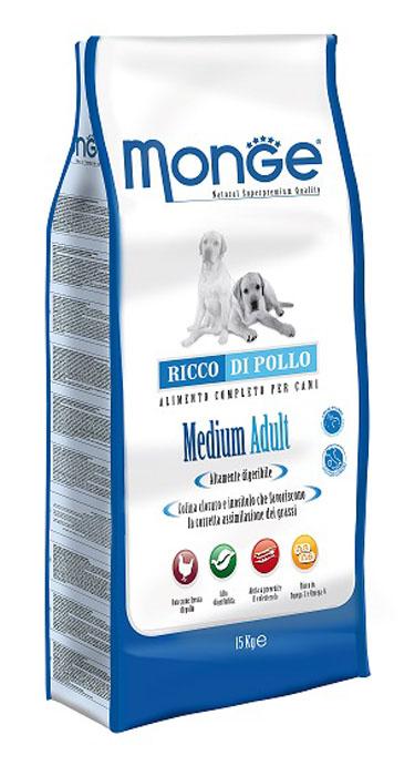 Корм сухой Monge для взрослых собак средних пород, 15 кг70004251Сухой корм для собак Monge - это полноценный корм, специально разработанный для ежедневного питания взрослых собак средних пород с нормальной физической активностью. Его формула основана на особом балансе белков и энергетических веществ с витаминно-минеральной составляющей из морских водорослей, помогающих вашим друзьям питаться каждый день, исключая возможность накопления излишнего холестерина. Рецептура имеет оптимальное соотношение жирных кислот Омега-3 и Омега-6. Состав: мясо цыпленка (мин. 10% свежего и мин. 26% дегидратированного), рис (мин. 26%), кукуруза, свекольная мякоть, куриный жир, пивные дрожжи, селедочная мука, рыбий жир, Юкка Шидигера, цистин, ФОС (фруктоолигосахариды), морские водоросли, хлорид натрия, холинхлорид, витамин C, инозит, мононитрат тиамина (витамин B1), рибофлавин (витамин B2), гидрохлорид пиридоксина (витамин B6), кобаламин (витамин B12), d- пантотеновая кислота, биотин (витамин H), ниацин (витамин PP), фолиевая ...