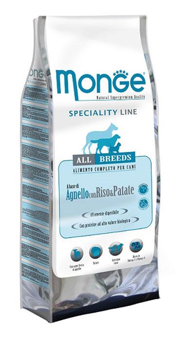 Корм сухой Monge для взрослых собак всех пород, с ягненком, рисом и картофелем, 15 кг70004Сухой корм Monge - это полноценный и сбалансированный корм для взрослых собак всех пород, которым требуется высокоусвояемое питание, при этом не вызывающее проблем с кишечником. Мясо ягненка является источником протеинов с высокой биологической ценностью, также протеины содержатся в картофеле, витамин С является натуральным антиоксидантом, который противодействует свободным радикалам и предотвращает старение кожи, а высокоусваиваемые углеводы можно найти в рисе. Кожа вашего питомца будет защищена необходимым количеством биотина, цинка, а высокое содержание линолевой кислоты поддержит кожу в здоровом виде, и придаст блеск шерсти. Корм гарантирует оптимальное соотношение жирных кислот Омега-3 и Омега-6. Состав: мясо ягненка (свежее мин.10%, обезвоженное 26%), рис (мин. 23%), кукуруза, куриное масло, мякоть свеклы, картофель, дрожжи, мука сельди, экстракт Юкки Шидигера, цистин, фруктоолигосахариды 381 мг/кг, маннан- олигосахариды 381 мг/кг. ...