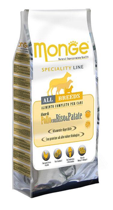 Корм сухой Monge для взрослых собак всех пород, с курицей, рисом и картофелем, 15 кг70004589Сухой корм Monge - это полноценный рацион для взрослых собак. Данный корм был разработан для взрослых собак всех пород, которые нуждаются в высокоусваиваемых кормах, не вызывающих проблем с кишечником. Курица является источником протеинов с высокой биологической ценностью, также корм содержит витамин С - натуральный антиоксидант, который нейтрализует свободные радикалы и предотвращает старение кожи, рис и картофель являются поставщиками высокоусваиваемых углеводов. Кожа вашего питомца будет защищена необходимым количеством биотина, цинка, а высокое содержание линолевой кислоты поддержит кожу в здоровом виде, и придаст блеск шерсти. Корм гарантирует оптимальное соотношение жирных кислот Омега-3 и Омега-6. Состав: мясо курицы (свежее мин. 10%, обезвоженное 25%), рис (мин. 23%), кукуруза, куриное масло, мякоть свеклы, картофель, дрожжи, мука сельди, экстракт Юкки Шидигера, цистин, морские водоросли, фруктоолигосахариды 480 мг/кг, маннан-олигосахариды...