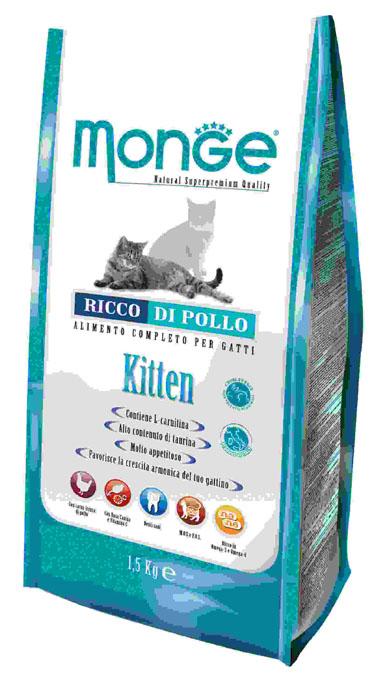 Корм сухой Monge для котят и беременных кошек, 1,5 кг70004879Сухой корм Monge - это полноценный рацион для котят. Для ваших котят моложе года, а также для беременных и кормящих кошек, данный корм является идеальным для здорового и сбалансированного роста. В корме содержатся продукты, богатые белками высокой биологической ценностью, обеспечивая ваших питомцев необходимыми пищевыми и энергетическими потребностями в питании. Более того, оптимальное соотношение жирных кислот Омега-3 и Омега-6 эффективно борются с аллергическими реакциями. Состав корма обеспечит здоровое сердце и остроту зрения, а также идеальный контроль над кишечной флорой. Высокое содержание глюкозамина и хондроитина способствует здоровым суставам. Состав: куриное мясо (свежее мин. 10%, обезвоженное 38%), кукурузный глютен, кукуруза, рис (мин. 6%), куриное масло, свекольный жом, масло лосося, дрожжи, яичный крахмал, целлюлоза (волокна гороха), Юкка Шидигера, фруктоолигосахариды 336 мг/кг, маннан-олигосахариды 336 мг/кг. Анализ: протеин...