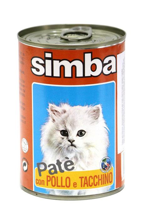 Консервы для кошек Monge Simba, паштет с курицей и индейкой, 400 г70009751Консервы для кошек Monge Simba - это полноценное питание для кошек. Паштет с курицей и индейкой. Ежедневная норма для кошки среднего размера (3-4 кг) - 400 г. Состав: мясо и мясные субпродукты 60% (в том числе курица 8%, индейка 6%), минеральные вещества, витамины, технологические добавки - загустители и желирующие вещества. Анализ компонентов: сырой белок 8%, сырой жир 7,5%, сырая клетчатка 0,4%, зола 2,1%, влажность 81%. Витамины и добавки на 1 кг: витамин А 1200 МЕ, витамин D3 160 МЕ, витамин Е 5 мг. Товар сертифицирован.